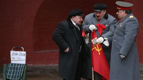 'Lenin' and 'Stalin' Come to Blows in Moscow's Red Square