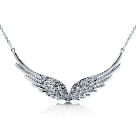 BERRICLE Sterling Silver CZ Angel Wings Pendant Necklace